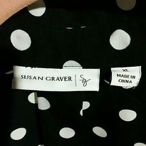 Susan Graver Tops - Black and white polka dot big shirt